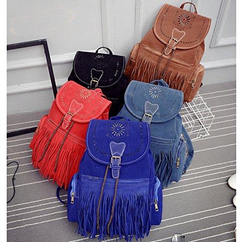 Flusso abrasivo su arte Baowen double borsa a tracolla vento nazionale lady retrò in pelle Zaino in pelle, blu navy Red
