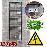 Elektro Badheizkörper CHROM CORTINA elektrisch Handtuchheizung + THERMOSTAT - 137x48 cm – 500 watt