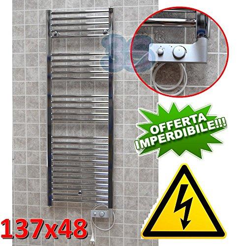 Elektro Badheizkörper CHROM CORTINA elektrisch Handtuchheizung + THERMOSTAT - 137x48 cm - 500 watt
