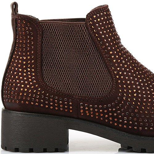 Ideal-Scarponcini, motivo Shoes Chelsea, bi-materiale, impreziositi Redoni strass Marrone (marrone)