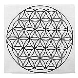 Jovivi 35 * 35cm-Tissu de Coton Crystal Grid Cloth Imprimé Fleur de Vie/Graine de Vie/Cube de Metatronpour Géométrie Sacrée Tissu d'autel Accessoire pour Pierres d'Energies 01