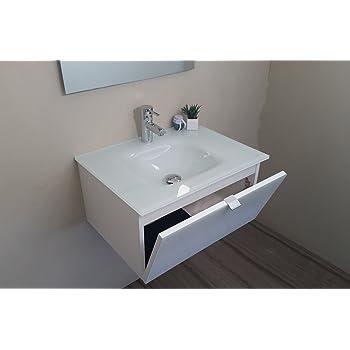 waschplatz mit glaswaschbecken in wei ma e b t h 70x49 5x51 cm k che haushalt. Black Bedroom Furniture Sets. Home Design Ideas