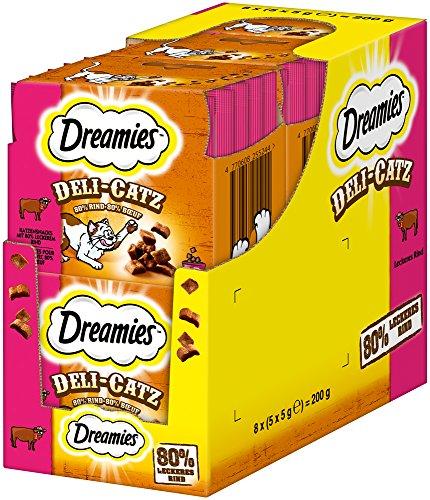 Dreamies Katzensnacks/Klassiker DeliCatz Rind, 8 Beutel (8 x 25 g)
