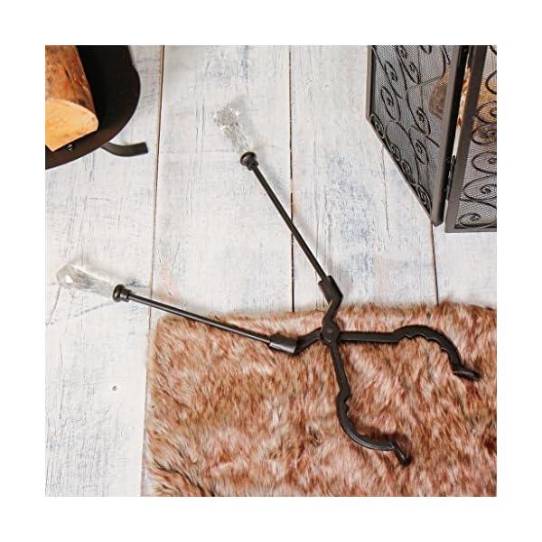 Estilo antiguo de cristal veneciano con mango Metal Chimenea pinzas–inusual tradicional chimenea juego de herramientas para pinzas para leña y carbón chimeneas, estufas y decoración–gran aniversario de regalo de inauguración de–ideal Present–L60cm