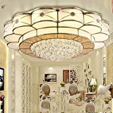 Europäische Kupfer Runden Wohnzimmer Schlafzimmer Esszimmer Studie Deckenleuchte,Stufenloses Dim,Durchmesser 50 Den
