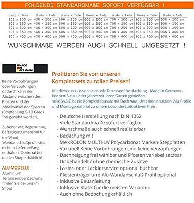 H.A.P PREMIUM 600x300 cm BxT Leimholz Terrassenüberdachung + Stegplatten + Zubehör - Unbehandelt / NATUR - ÜBERDACHUNG TERRASSENDACH HOLZ VORDACH CARPORT TERRASSE WINTERGARTEN GARTENLAUBE PAVILLON 6x3 m von H.A.P Premium Baustoffe bei Gartenmöbel von