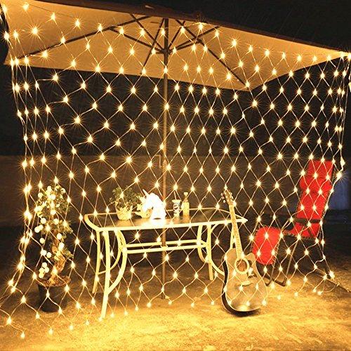 WYBAN 3 x 2M 200 LEDs Warmweiß Lichterkette/Netzlicht Helles Netzlicht Außenbeleuchtung für Gartendekorationslichter/Park/Hochzeit /Partei / Innen und Außen Deko (3 x 2M-Warmweiß)