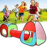 swiftt 3tlg. Kinderspielzelt mit Tunnel Bällezelt Bällebad Pop up Kinderzelt Spielzelt mit Tasche für Drinnen und Draußen Bällezelte Bälle Zelte
