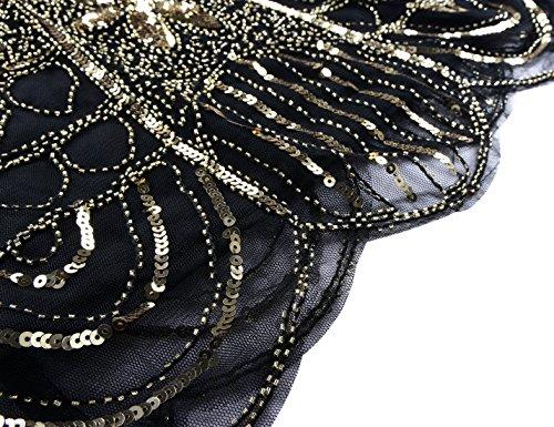PrettyGuide Damen 1920er Gatsby Art Deco überbackene Saum Cocktail Charleston Kleider Gold