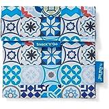 Roll'eat - Snack'n'Go Patchwork   Bolsa Merienda Porta Sandwich Reutilizable y Ecológico sin BPA, Azul
