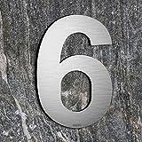 qobobo® Numero civico 6 sei o 9 nove in Acciaio inossidabile 304 Aspetto galleggiante, Spazzolato / 200 x 135 x 2mm