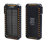 Solar Charger X-DRAGON 15000mAh Portable Power Bank Dustproof Shockproof Dual USB Solar Panel Battery Charger with Dual Bright LED Light for iPhone, Samsung Galaxy, Tablets, Mobile Phones, Home-Orange