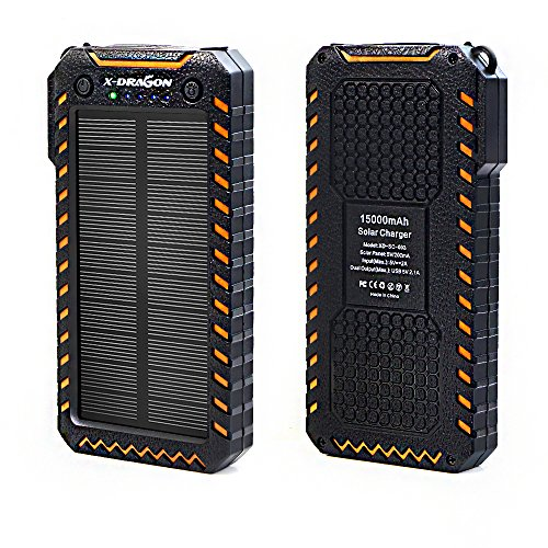 X-DRAGON Solar Powerbank 15000mAh Outdoor Externes Batterien Handy Solar Ladegerät mit Dual USB Ports Zwei Helle LED für Smartphone, iPhone 7 6 6S plus 5S, iPad, Huawei, Samsung und Tablet(Orange)