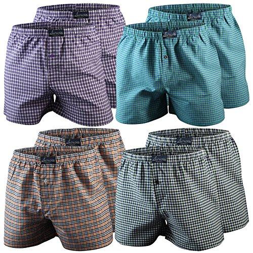 4er | 8er | 12er Pack Karo Herren Boxershorts Baumwolle gewebt, 2 Farbvarianten Qualität von Lavazio® 8er Pack - Farbe 1
