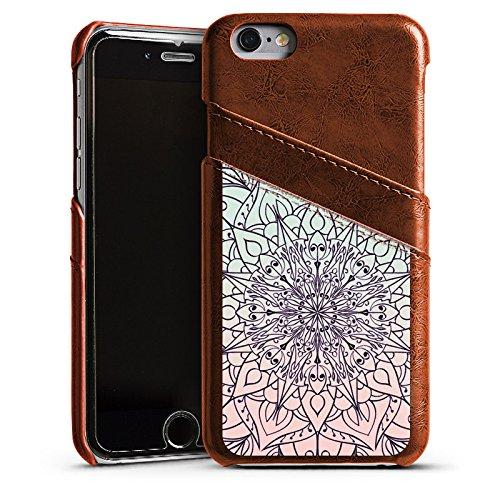Apple iPhone SE Housse Outdoor Étui militaire Coque Mandala couleurs Tendance Étui en cuir marron