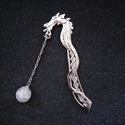 mindruer Dragon Form Lesezeichen Haarspange mit Luminous Perlen Glow in the Dark Lesezeichen, silber, Length 11.5cm