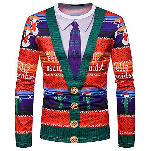 SEWORLD Weihnachten Christmas Herren Männer Herbst Winter Weihnachten Weihnachten Drucken Top Männer langärmelige T-Shirt Bluse(X1-2-mehrfarbig,EU-54/CN-XXL)