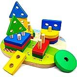 Puzzle Bois 1 2 3 4 Ans, Jouet en Bois Montessori Enfant de Développement Éducatif pour Bébés, Géométriques Forme Stack Tri e