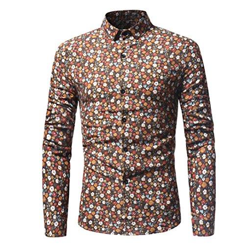 Camicia da uomo , feixiang® t-shirt shirts camicia camicie polo camicetta cappotto giacca maglione felpe hoodie pullover slim retrò floreale stampati casual maniche lunghe (giallo, xxl)