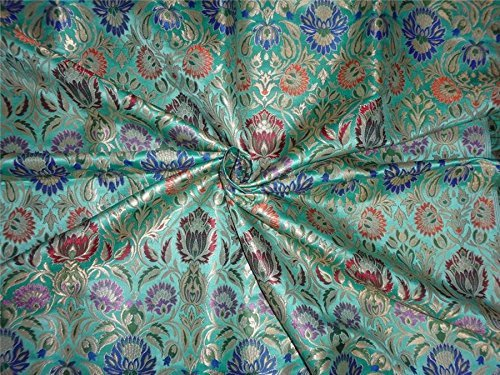 Schwere Seide Brokat Tiffany Blau Metallic Gold & Multi Farben 91,4 cm by the Yard