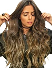 TopWigy Women Long Wavy Wigs 24 Inches Dark Brown Ombre Middle Part Synthetic Full Wig Cosplay Wigs
