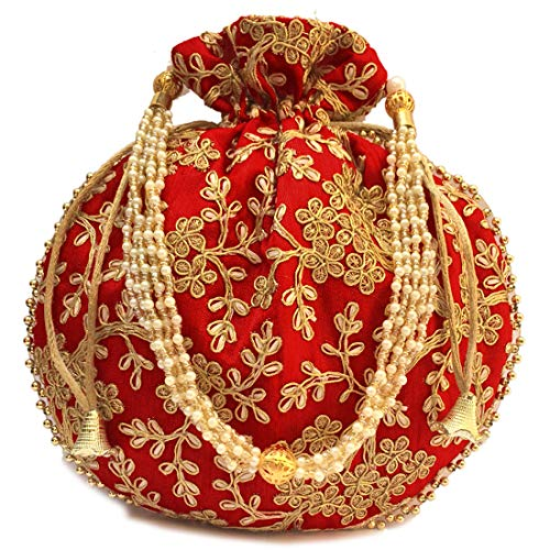 Shubh Shagun Rajasthani Ethnic Women's Girls Potli (Red)