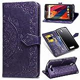 Ycloud PU Leder Tasche für ZTE Blade L5 Plus Kunstleder Wallet Flip Case mit Standfunktion Kartenfächer Entwurf Mandala Prägen Lila Hülle für ZTE Blade L5