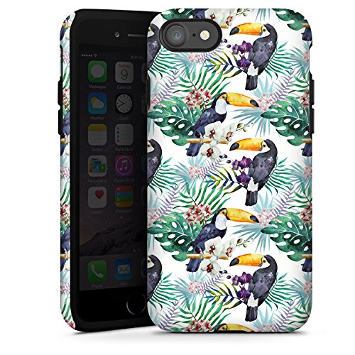 Apple iPhone X Silikon Hülle Case Schutzhülle Muster Bunt dschungel Tough Case glänzend