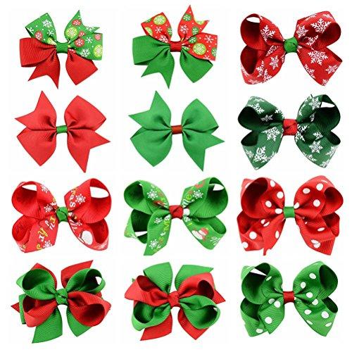Arcs cheveux Noël oULII Clip nœuds barrettes pour cheveux de filles 12pcs