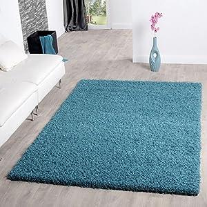 T&T Design Shaggy Teppich Hochflor Langflor Teppiche Wohnzimmer Preishammer versch. Farben, Größe:60x100 cm, Farbe:Tuerkis