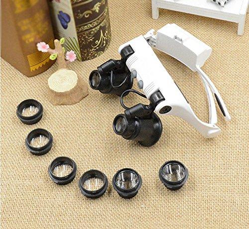 CPDZ Klassische Lupe Glas Konvexe Linse Lesebrille für die Ältere Brillenlinse Brille 2LED 10X15X 20X25X Acryl Optische Linse Weiß Größe 200 * 170 * 70mm