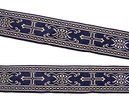 10m Kreuz Borte Webband 35mm breit Farbe: Dunkelblau-Gold von 1A-Kurzwaren SM05-dblgo-35 (Kreuz Borte)