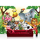Vlies Fototapete 300x210 cm PREMIUM PLUS Wand Foto Tapete Wand Bild Vliestapete - JUNGLE ANIMALS PARTY - Kinderzimmer Kindertapete Dschungel Zoo Tiere Giraffe Löwe Affe - no. 013