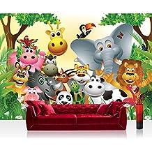 Papel pintado no tejido papel pintado   Diseño de papel pintado para niños animales de la selva   400 x 280 cm - marcas trendspot - pantalla   JUNGLE ANIMALS fiesta by LIWWING   Papel pintado, papel de fieltro, fieltro papel pintado, papel pintado, decorativo, papel pintado para niños, con animales de la jungla, Zoo, los animales, Griaffe, león, mono, hipopótamo, hipopótamo, Tiger, dibujo, Multicolor, Verde, papel pintado, papel pintado, papel pintado, papel pintado de fieltro, papel, tamaño Póster, XXL papel pintado