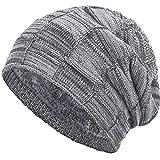 Compagno warm gefütterte Beanie Wintermütze Flechtmuster unifarben oder meliert Einheitsgröße Mütze, Farbe:Hellgrau meliert