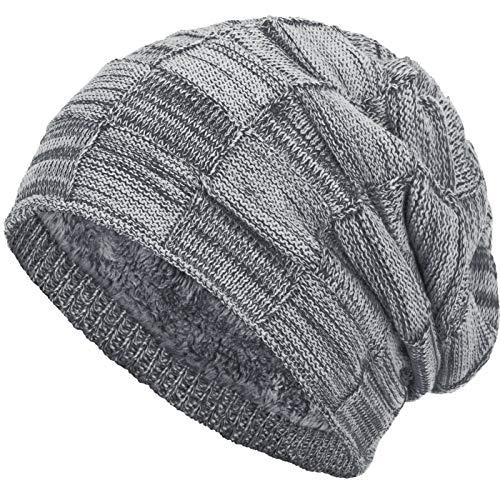 Compagno warm gefütterte Beanie Wintermütze Flechtmuster unifarben oder meliert Einheitsgröße Mütze, Farbe:Hellgrau meliert (Glatze-mütze)