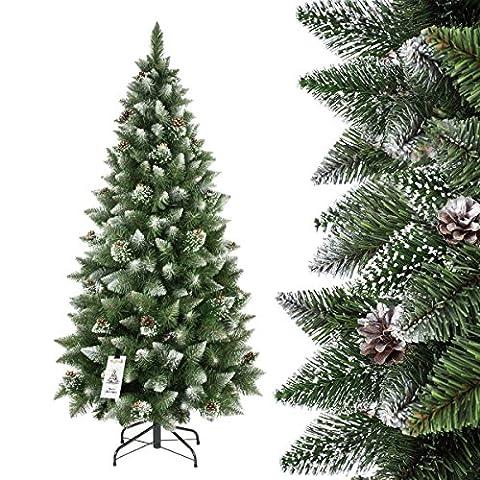 FAIRYTREES künstlicher Weihnachtsbaum SLIM, Kiefer Natur-Weiss beschneit, Material PVC, echte Tannenzapfen, inkl. Metallständer, 220cm, FT09-220