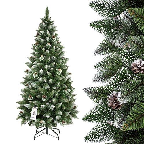 FAIRYTREES Árbol de Navidad artificial SLIM, Pino natural blanco nevado, material PVC, las verdaderas pi?as, el soporte en metal, 180cm, FT09-180