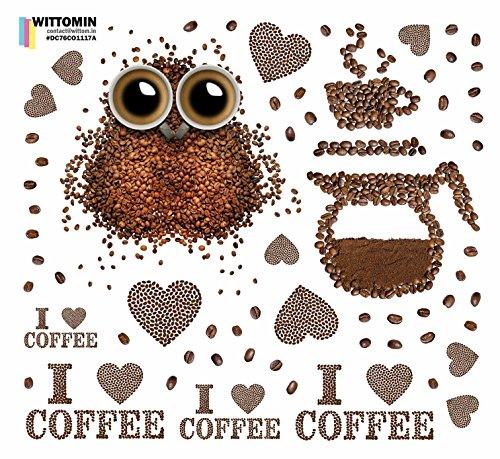 Wittomin Vinyl Aufkleber - Coffee Kaffee Espresso Eule Herzen Cafe Küche - Durchsichtiges - Ohne weiße Ränder