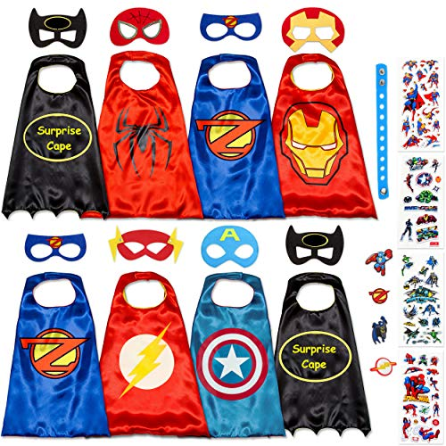 Dropplex Superhelden Kostüm Für Kinder - Kleinkind Superhelden Party Outfit - Spielzeug Für Jungen Und Mädchen - 8 Capes Und Maske - Im Dunkeln Leuchtendes Logo
