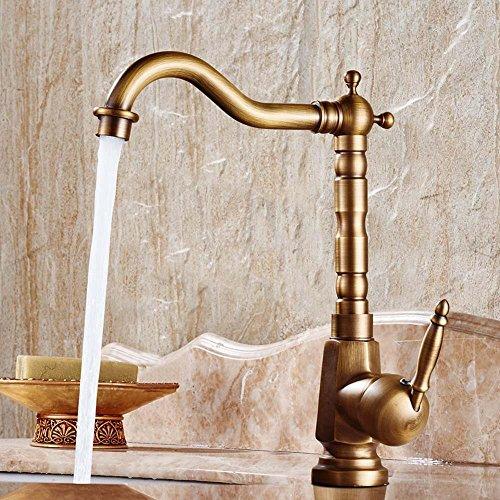 CZOOR 360° drehbaren Warmes und kaltes Bad Zuspitzung antike Küche Waschbecken Armaturen Messing Porzellan Base Waschtisch Armatur Mischbatterie, B - Waschtisch Waschbecken Base