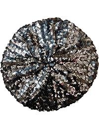 Gorra de mujeres de las señoras del estilo francés de la boina de lentejuelas Beanie revestimiento interior suaves calientes (plata)