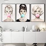 HMOTR Carteles e Impresiones Lienzo Audrey Hepburn Marilyn Monroe Bubble Gum Wall Art Poster Modern Art Wall Picture Woman Ho