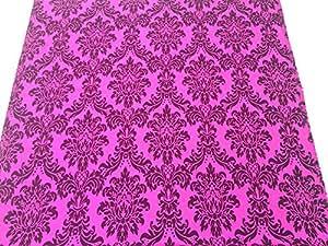 & noir Rose CERISE soie en taffetas velours floqué damassé rideaux/Coussins/STORES romains Tissu au mètre