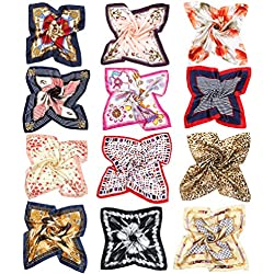 VBIGER Pañuelo de Seda Cuadrado para Mujer,12 pcs (B-color Aleatorio)