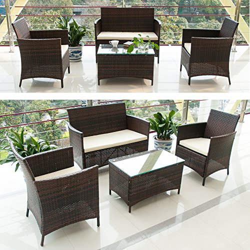 Btm Garden Furniture Sets 4 Seaters Patio Furniture Set 5 Pcs Rattan Garden Furniture Set Coffee