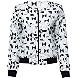 Hannea Casual Round Collar Long Sleeve Printing Zipper Design Women's Baseball Jacket