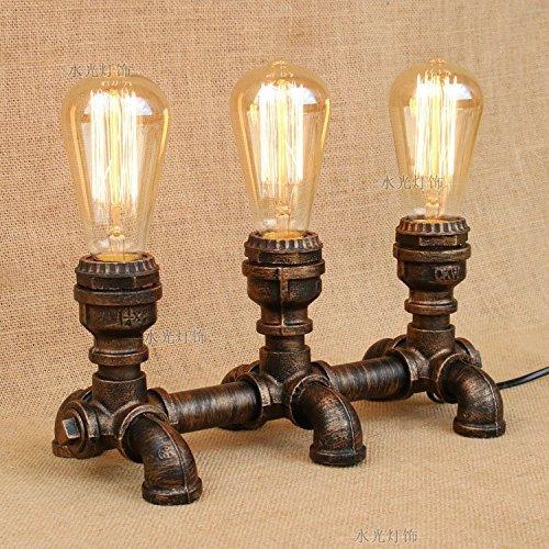 CEJ Tischlampe-Industrial Wind Rohre Kunst Schlafzimmer Bar riesigen Lampen Café Eisen persönliche Verjüngung Lampen, Drei Kopf Wolfram Lichtquelle (Kopf Wolfram)