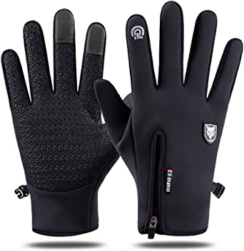 Touch Screen Windproof Cycling Gloves - Waterproof Full Finger Cold Proof Silicone Anti-slip Winter Driving Gloves for Men&Women,Suitable for Outdoor Cycling,Climbing,Running,Sports,Work etc