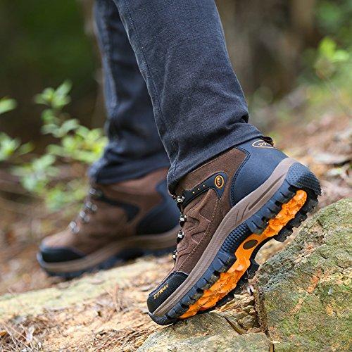 Gomnear Chaussures De Randonnée Et De Randonnée Pour Hommes High Antickid Outdoor Chaussures De Montagne D'hiver Brown